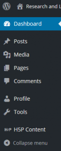 H5P wordpress dashboard menu - closed