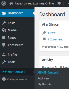 H5P wordpress dashboard menu - open